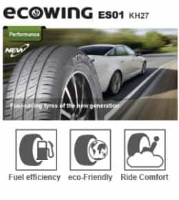 Kumho has achieved fuel saving measures in the Ecowing ES01 KH27 through a silica compound and tread design.