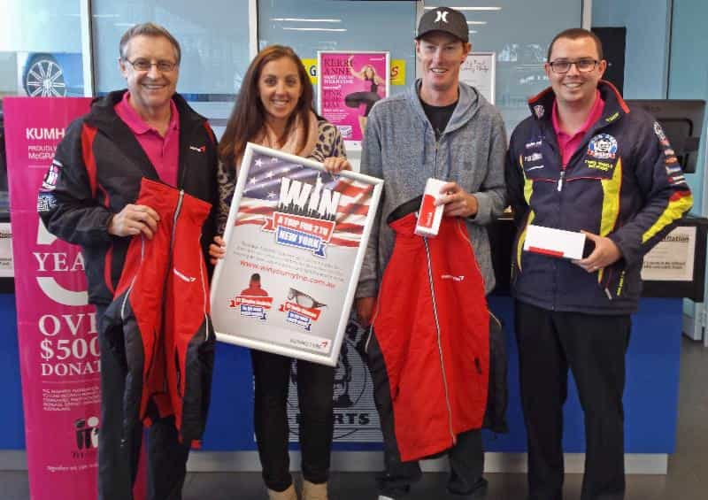 Roxie Reynolds and her partner Brenton are off to New York courtesy of Kumho Tyre.   L-R: Kumho SA state manager Steve Reid,  competition winner Roxie Reynolds, Brenton Deacon, Seaford Bob Jane manager Steve Parfitt