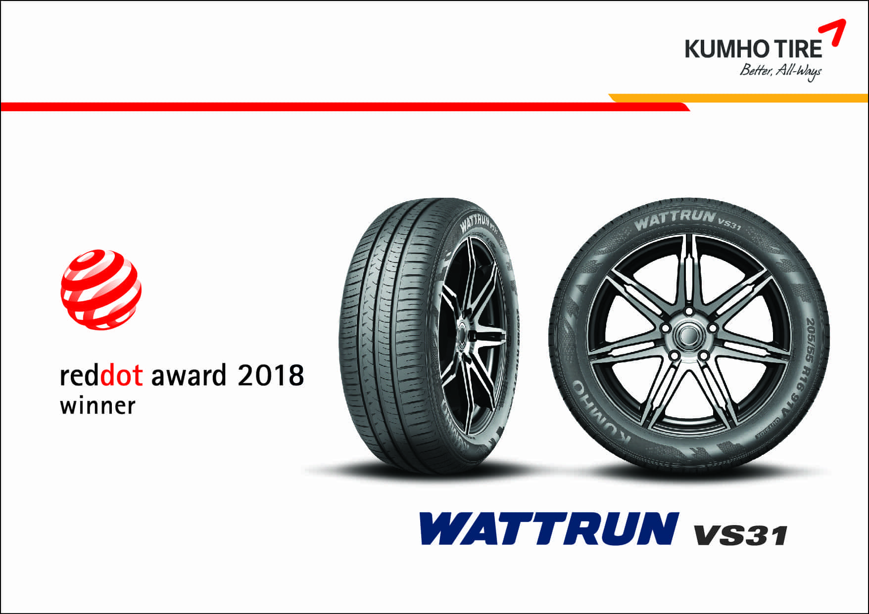 Kumho Tyres WATTRUN VS31 has won the Germanys Reddot Design Award