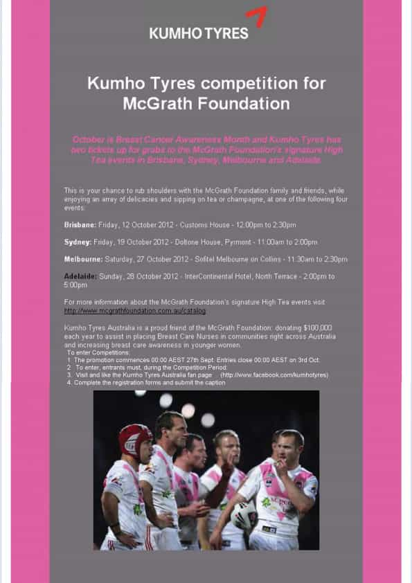 Kumho tyres competition for McGrath Foundation